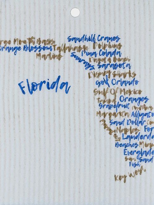 Sand & Light Blue Florida Words Wash Towel (MIN 6)
