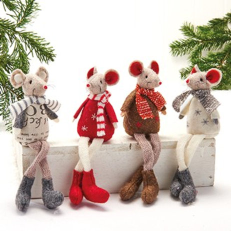 Sitting Mouse w/Long Legs, 4 Assorted