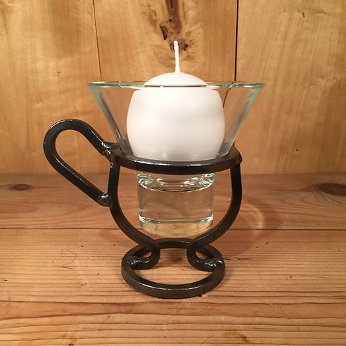 Coffee Cup Candleholder w/1 Glass Cup