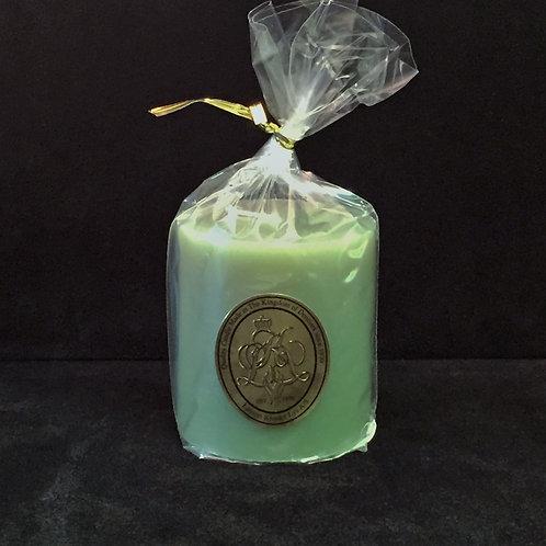 Short Green Pillar Candle