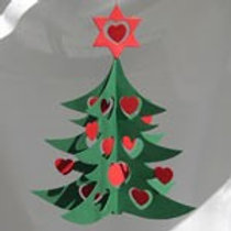 Christmas Tree w/Hearts Mobile, Green & Red