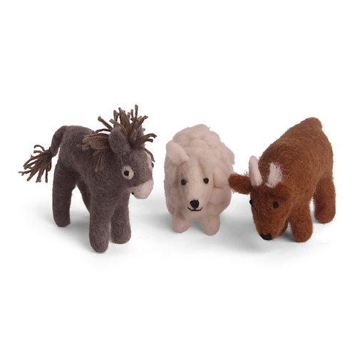 Nativity Play Donkey, Sheep, and Ox, Set of 3 (MIN 4)