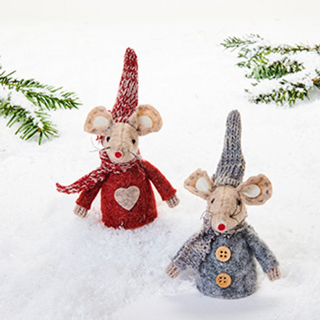 Mouse w/Knit Hat, 2 Assorted