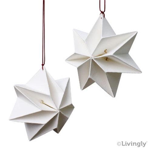 White Mouritsen Pleated Star Mobile, 6/pkg