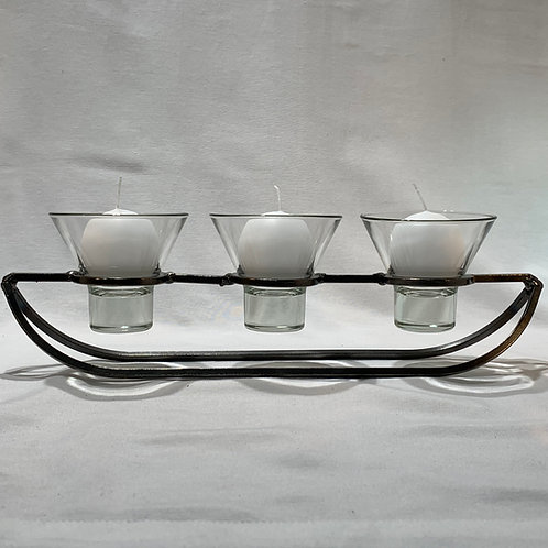 Boat Candleholder w/3 Glass Cups