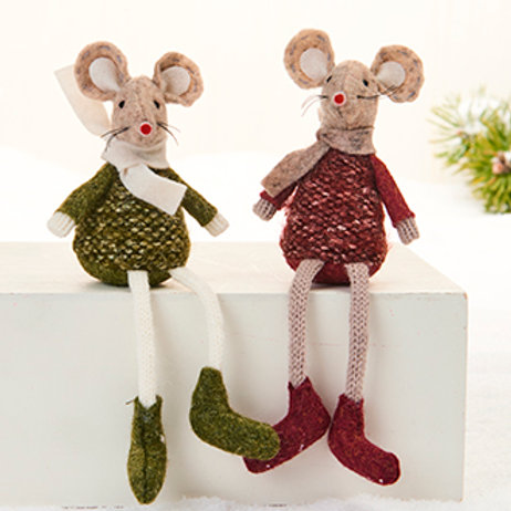 Red & Green Sitting Mouse, 2 Assorted