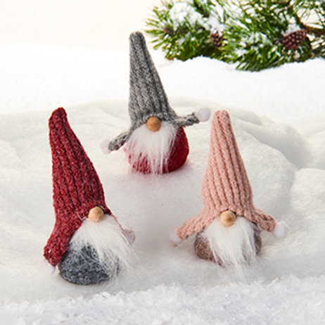 Gnome w/Knitted Hat, 3 Assorted