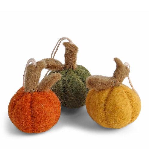 Mini Pumpkin Ornament, Mix, Set of 3 (MIN 8)