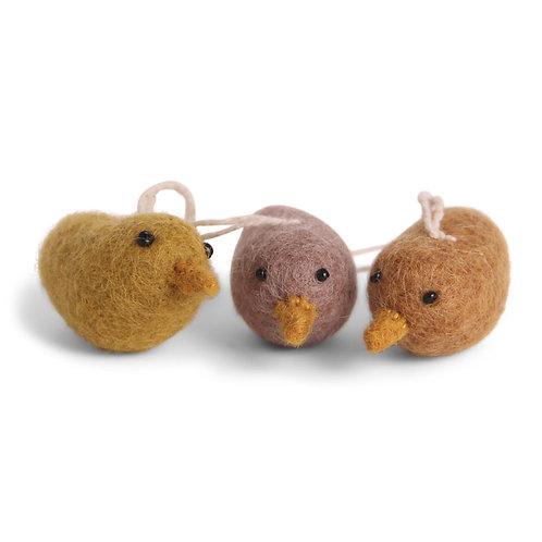 Yellow Mini Bird Ornaments, Set of 3 (MIN 8)