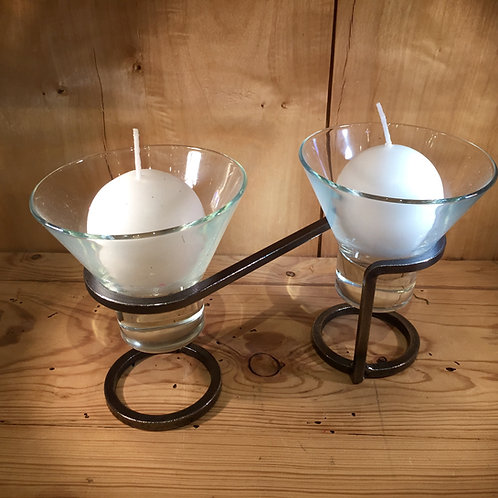 Infinity Base Candleholder w/2 Glass Cups