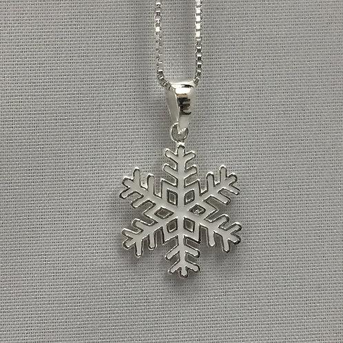 Snowflake w/White Enamel Necklace