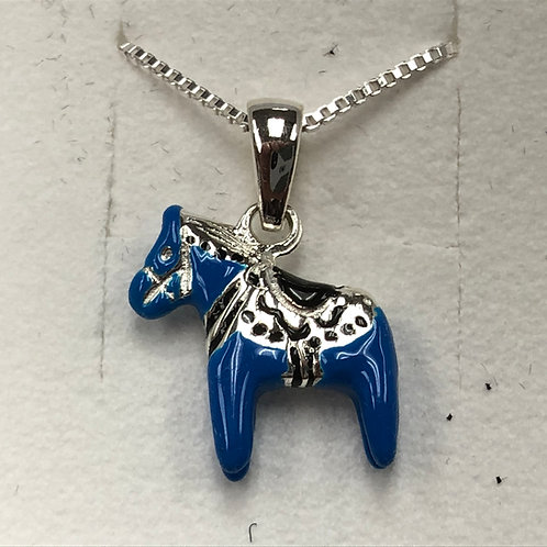 Blue Dala Horse Necklace