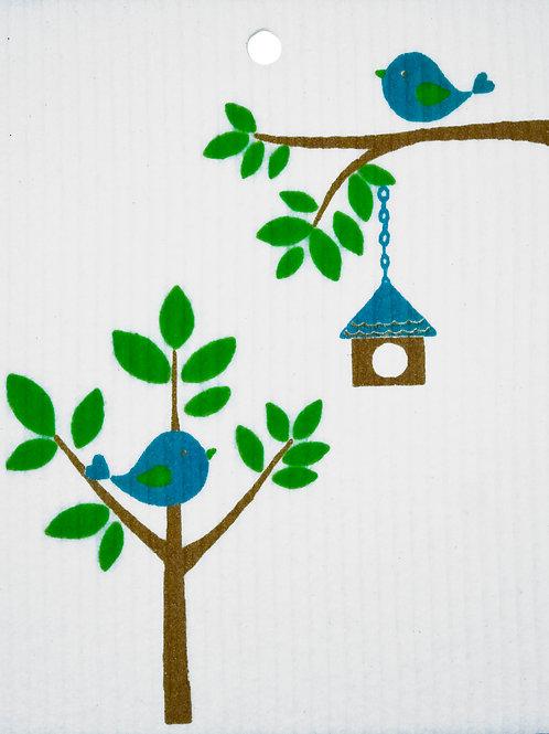 Birds w/Birdhouse Wash Towel (MIN 6)