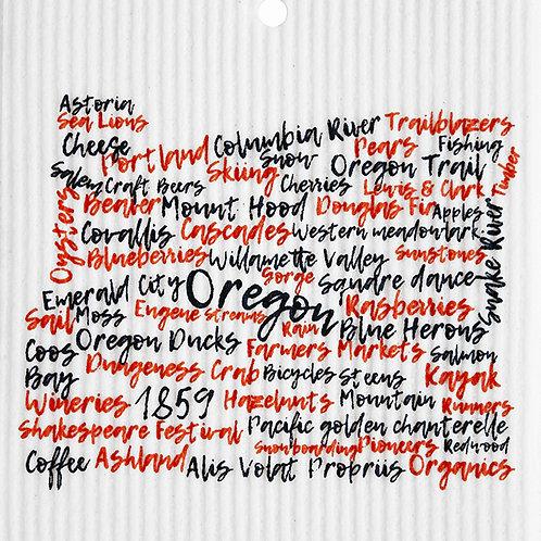 Black & Orange Oregon Words Wash Towel (MIN 6)