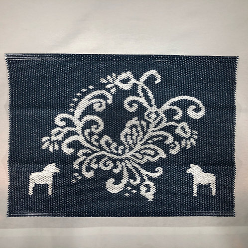 Small Blue Dala Horse Rug