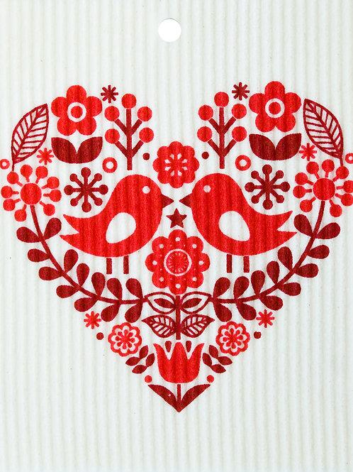 Red Heart w/Bird Pair Wash Towel (MIN 6)