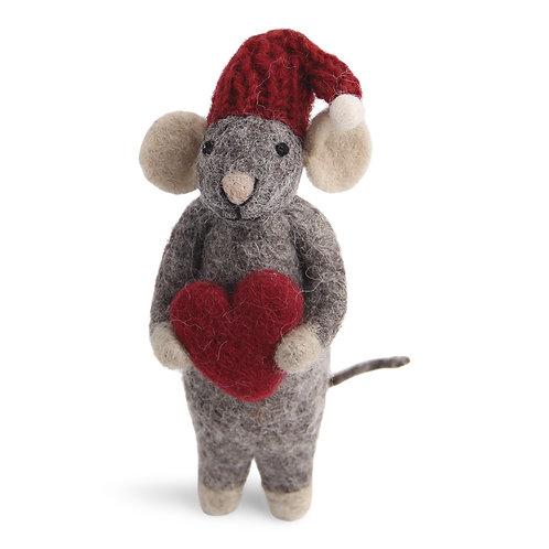 Grey Mouse w/Heart Ornament (MIN 6)