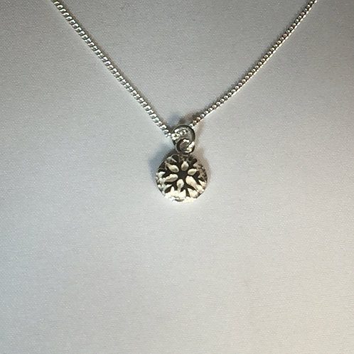 Small Round Snowflake Necklace