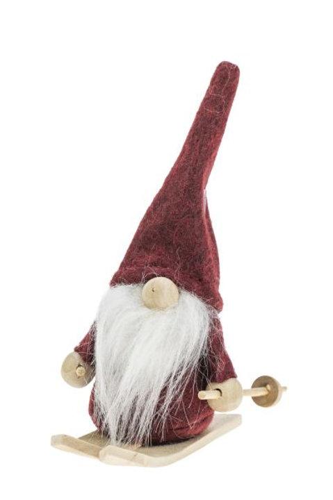 Little Red Skiing Santa w/White Beard