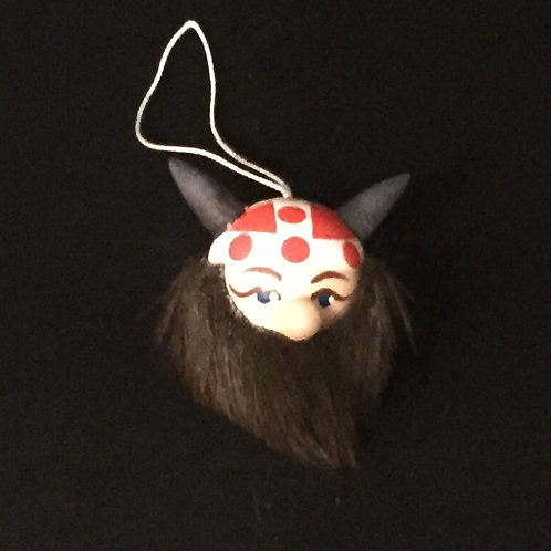 Viking Head Ornament w/Denmark Helmet