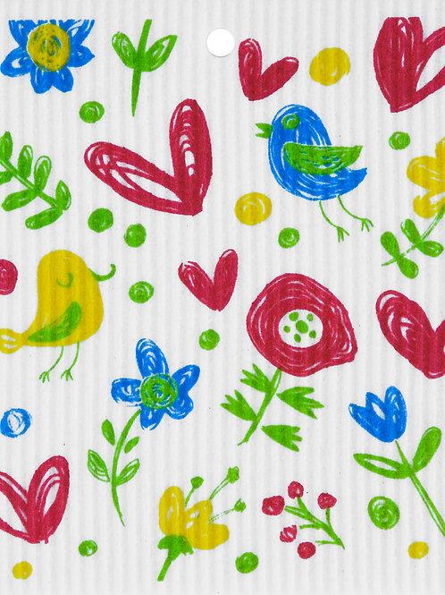 Birds, Flowers, & Hearts Wash Towel (MIN 6)