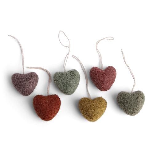 Burnt Colors Mini Heart Ornament, Set of 6 (MIN 8)
