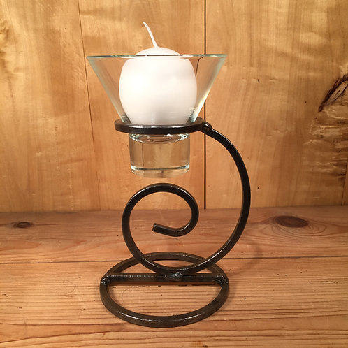 Tall Curl Candleholder w/1 Glass Cup