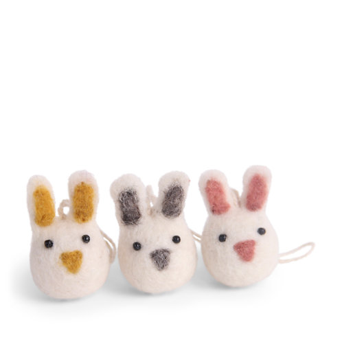 White Mini Bunny Ornaments, Set of 3 (MIN 8)