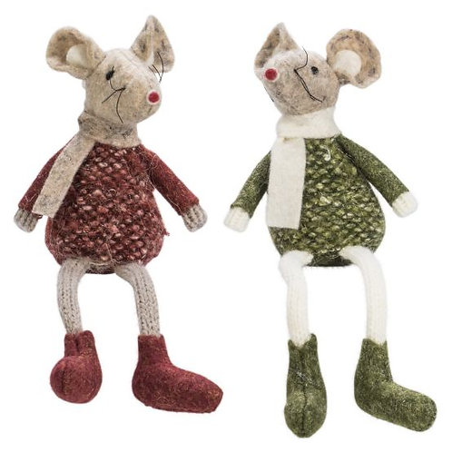 Green & Wine Red Sitting Mouse, 2 Assorted