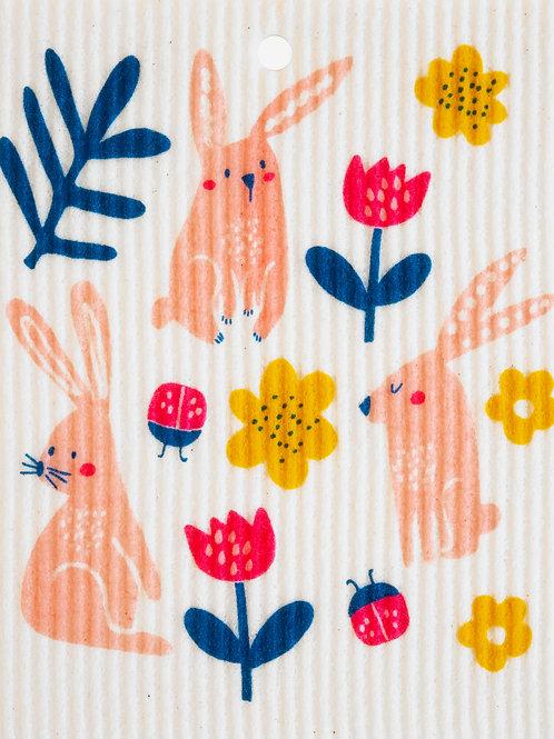 Bunnies w/Flowers Wash Towel (MIN 6)
