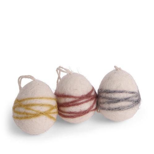 White Egg Ornament w/Thread, Set of 3 (MIN 8)
