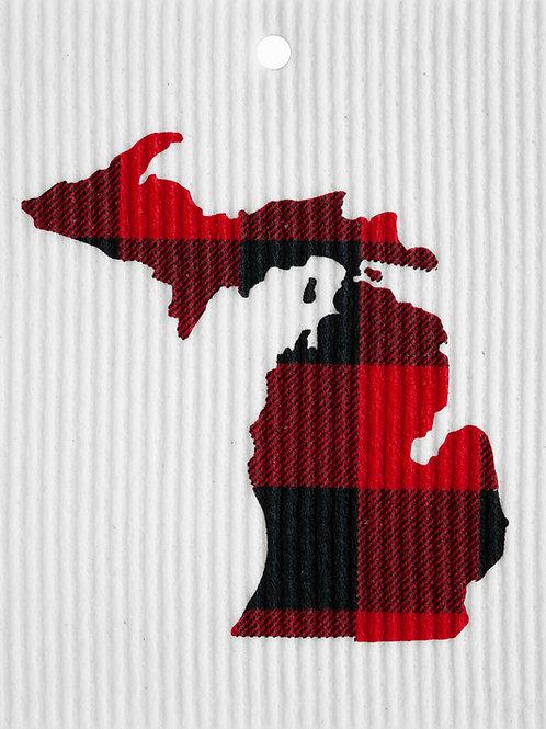 Michigan Buffalo Plaid Wash Towel (MIN 6)