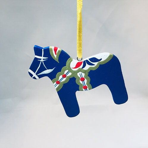 Blue Dala Horse Ornament