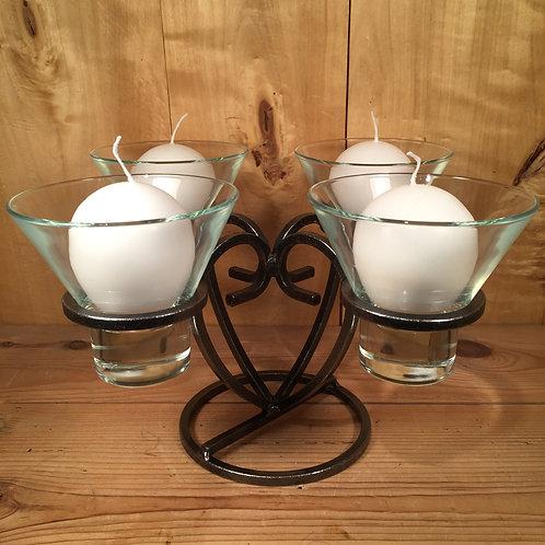 3D Heart Candleholder w/4 Glass Cups