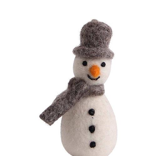 Grey Snowman w/Scarf Ornament (MIN 8)