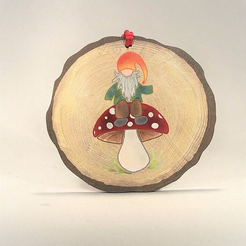 Nisse on Mushroom Ornament