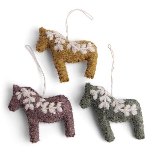 Burnt Colors Dala Horse Ornament, Set of 3 (MIN 8)