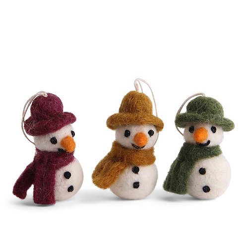 Colorful Mini Snowman w/Scarf Ornament, Set of 3 (MIN 8)