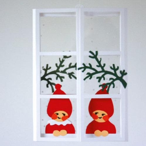 Christmas Window w/Nisse Mobile