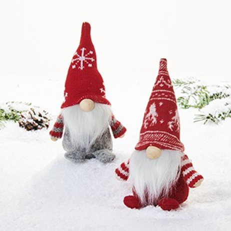 Sitting Gnomes w/Knit Arms & Patterned Hats, 2 Assorted