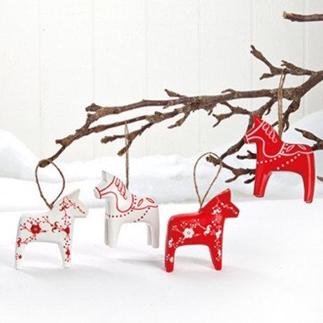 Red & White Dala Horse Ornament, 4 Assorted