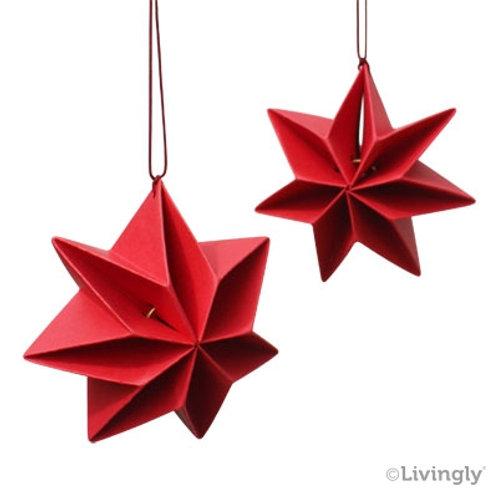 Red Mouritsen Pleated Star Mobile, 6/pkg