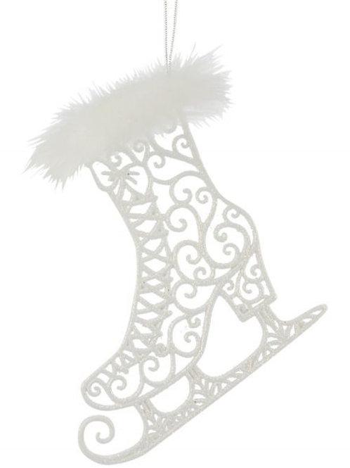 Filigree Skate Glitter Ornament w/White Fur