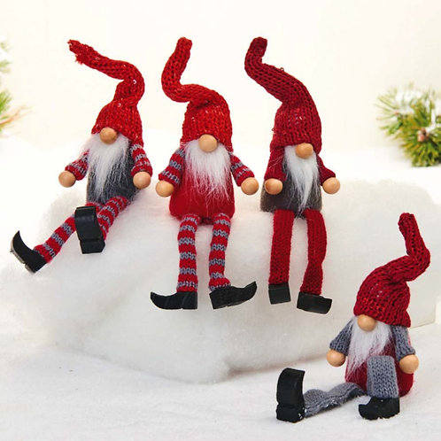 Red & Grey Gnome w/Hanging Legs, 4 Assorted