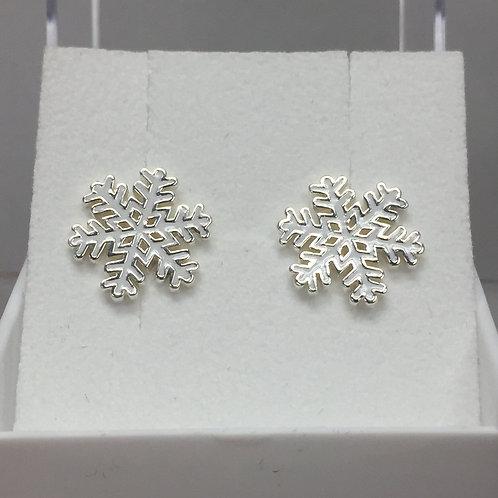 Snowflake w/White Enamel Earrings on Post Back