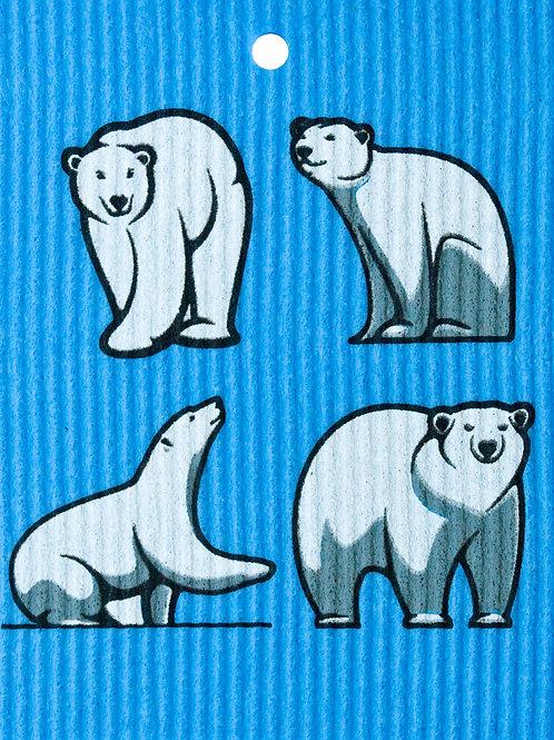 Polar Bears on Blue Cloth Wash Towel (MIN 6)