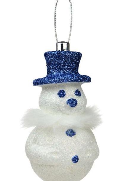 Snowman Ornament w/Sky Blue Glitter Hat & Furry Collar