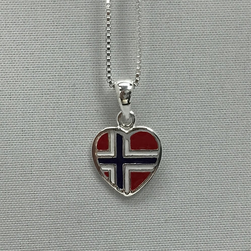 Small Norwegian Flag Heart Necklace