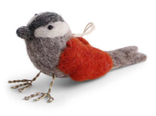 Rusty Red Bird Ornament (MIN 6)
