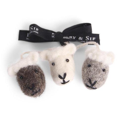 Natural Sheep Face Ornaments, Set of 3 (MIN 8)